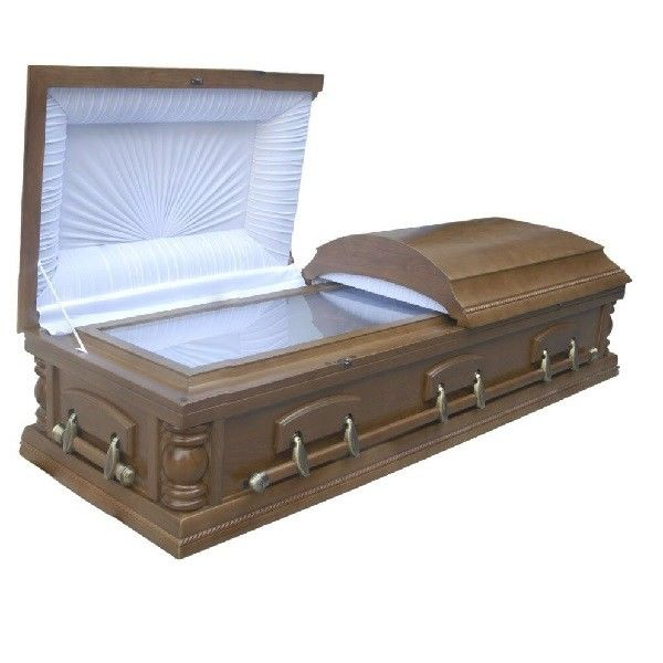 Adult Brown Wooden Coffin Kits With Lining And Lid Lining MDF Material
